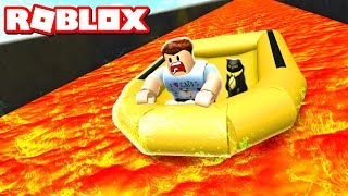 SURVIVE A RAFT DOWN A VOLCANO IN ROBLOX