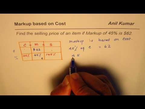 Find the selling price if Markup and Percent Markup is given