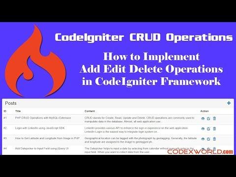 CodeIgniter CRUD Operations with MySQL