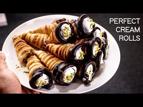 Cream Roll Recipe - Bakery Style No Egg Puff Pastry Recipes - CookingShooking