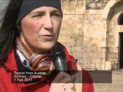 Tourist from Austria at the Citadel in Amman, Jordan