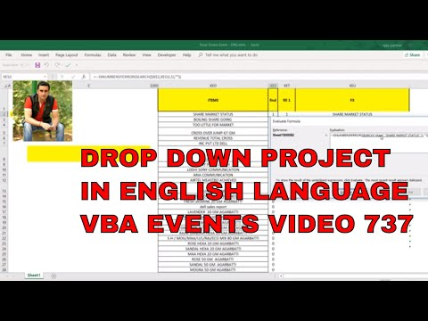 How to show drop down data Validation - VBA Events in English -Video 737