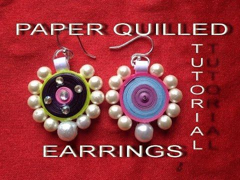 How to make paper quilling earrings easy method design-3 - Tutorial