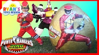 POWER RANGERS Dino Super Charge Giant Egg Surprise Opening SuperHeroes Toys Kids Video