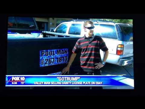 Go Trump GOTRUMP Arizona license plate on Fox10 news with Joshua Bridge