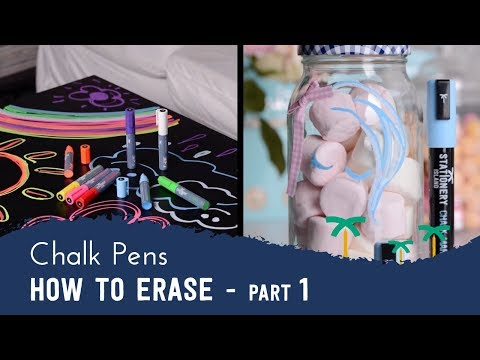 How to Erase Your Liquid Chalk Marker Pens Ink From Non-Porous Surfaces - Part 1 | Stationery Island