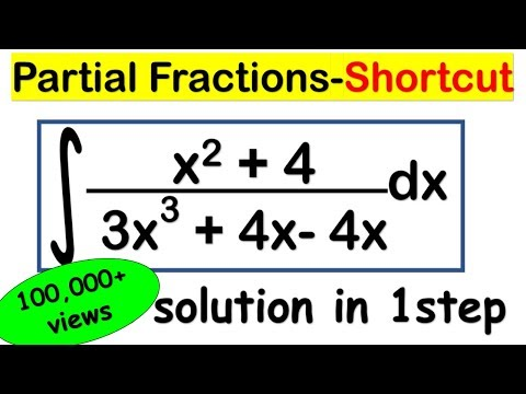 INTEGRATION SHORTCUT METHOD - Trick to calculate Partial Fractions of Integrals