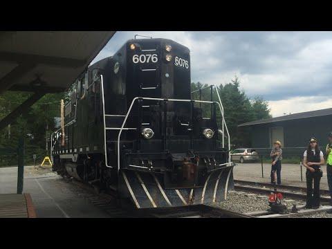 Adirondack Scenic Railroad arriving in Lake Placid