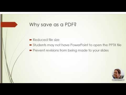 How to save slides as a PDF (PowerPoint 2013)