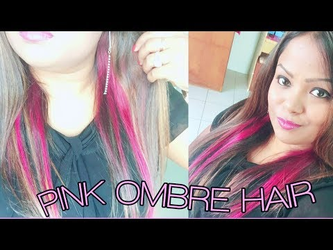 How to highlight and color your hair Ombré Pink hair at home !!