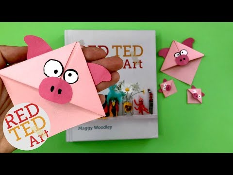 Pig Corner Bookmark DIY - How to make a corner bookmark - Pig DIYs