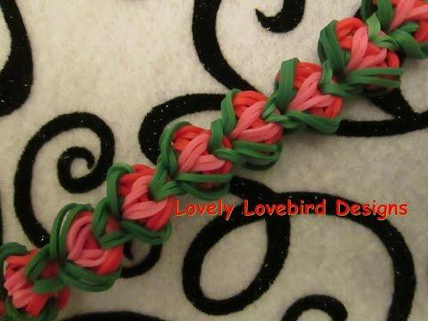 New Rainbow Loom Rose Blossom Bracelet Tutorial.