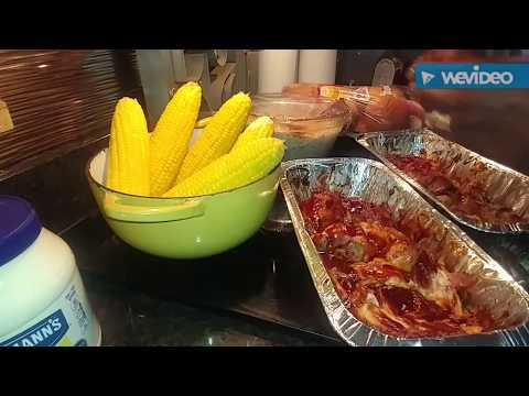 Rotisserie Barbecued chicken on a bun, brown sugar/corn on the cob & homemade potato salad!