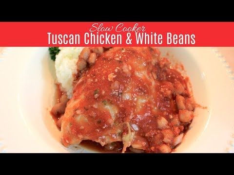 Slow Cooker Tuscan Chicken With Beans:  A Crockpot Chicken Recipe