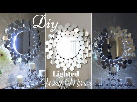 Diy Glam Wall Mirror Decor with inbuilt Lighting!