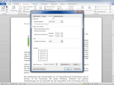 Microsoft Word 2010 Die Kopf  und Fußzeile von der ersten Seite entfernen