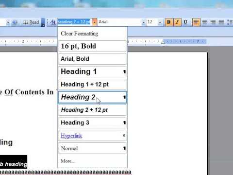 How to add a Table of Contents in Microsoft Word 2003 TOC