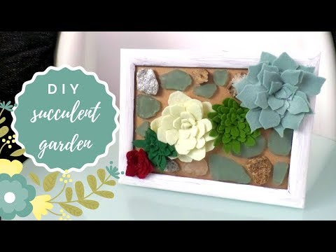 DIY Succulent Wall Garden | Felt Succulents | Make a Vertical Terrarium for Home Decor