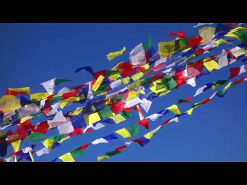 Tibetan prayer flags at Boudhanath Stupa in Kathmandu, Nepal