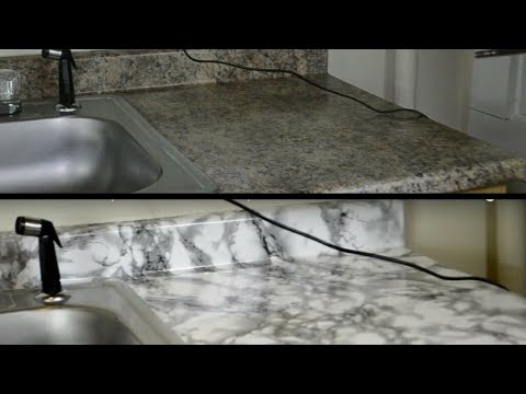 DIY Kitchen Countertop Makeover With Contact Paper (HD)