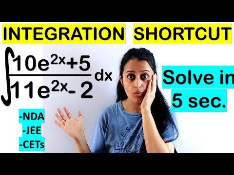 INTEGRATION SHORTCUT (involving e^x)//TRICK FOR NDA/JEE/CETs/COMEDK/SOLUTION IN 5 SECONDS
