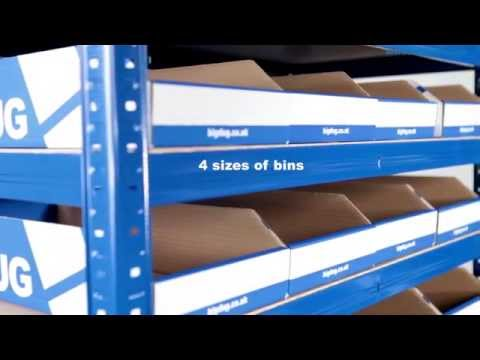BiGDUG Storage Bays With Flat Pack Cardboard Bins