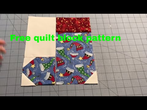 Christmas stocking quilt block Sew With Me includes pattern