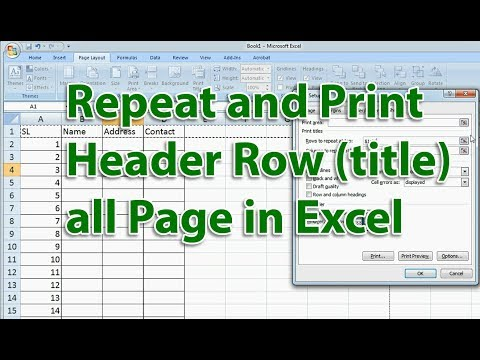 Repeat and Print Header Row (title) all Page in Excel