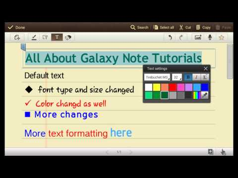 How to change text styles in S Note for Galaxy Note, Galaxy Note 2 and Galaxy Note 10.1