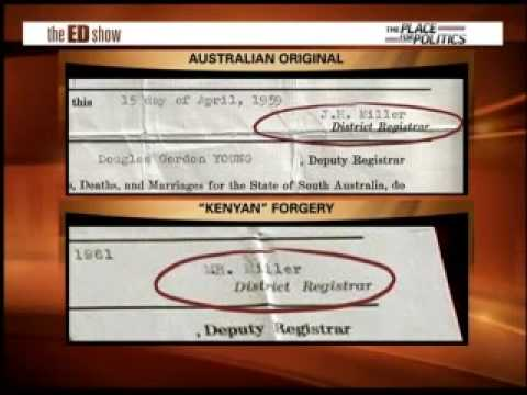 Forged Kenyan Birth Certificate from Australia
