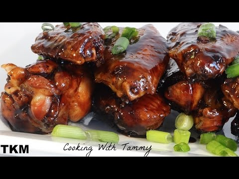 Sticky Chicken Wings Recipe - Sweet And Spicy Garlic Ginger Wings