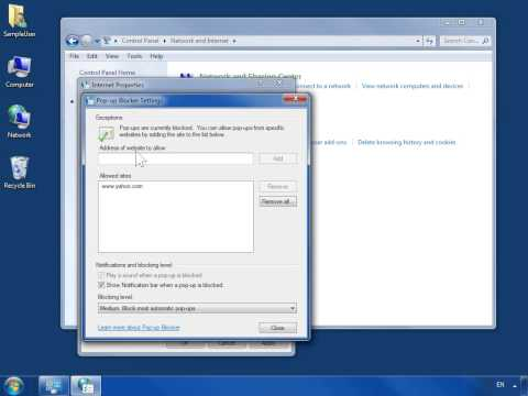 Windows 7 Configure the Pop-Up Blocker