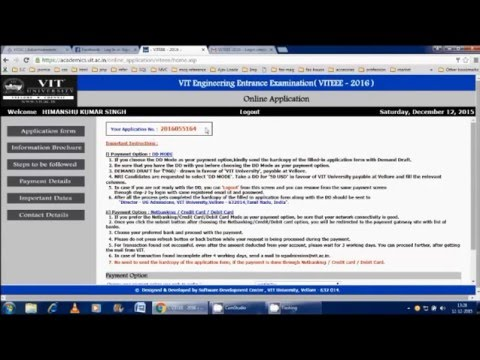 VITEEE 2016 Online Form Filling complete process