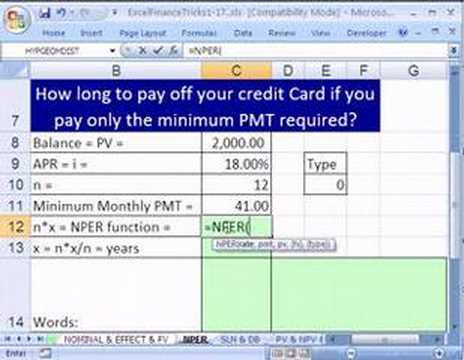 Excel Finance Trick 11: How Long Pay Off Credit Card Balance