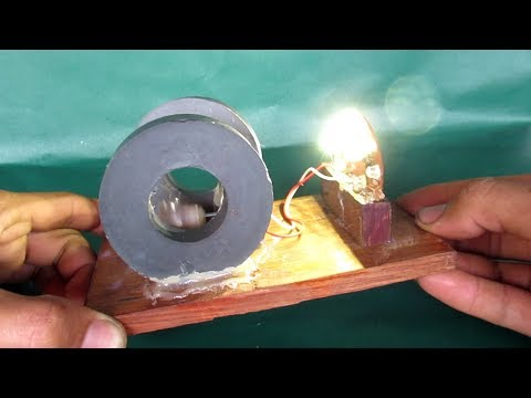 Homemade free energy generator with magnets - DIY motor make free electricity light