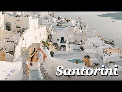 STUNNING SANTORINI TOWN AND SUNSET + Greece Island Ferry Tour
