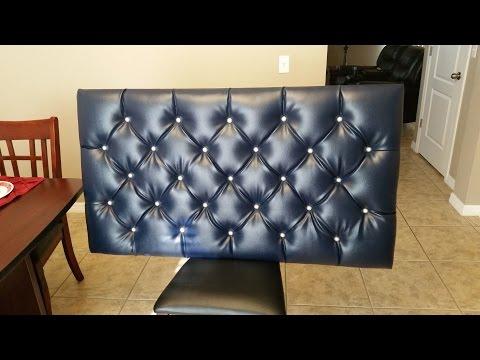 DIY Blue Tufted Floating Headboard with Diamond Pattern