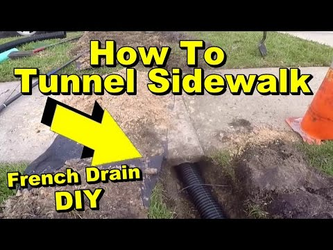 How to Tunnel a Sidewalk, French Drain Pipe Under Walk with Pop Up Emmiter