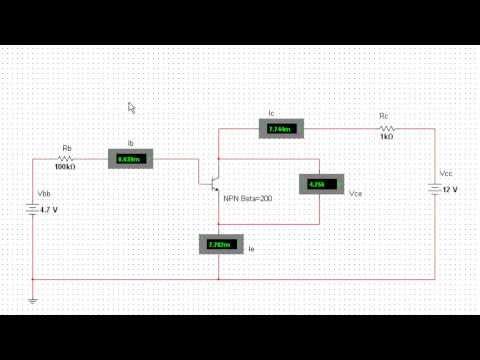 Transistor circuit connections using MultiSim to determine Beta (Ic/Ib)