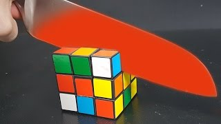 EXPERIMENT Glowing 1000 degree KNIFE vs RUBIK
