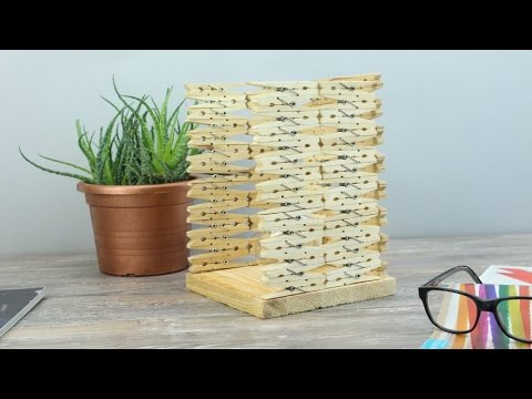 Turn Clothespins into a Stylish Table Lamp