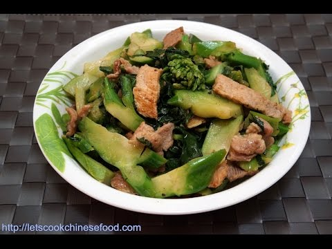 Chinese Recipe  : Stir-fried Pork with Chinese Kale