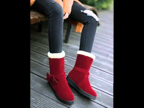 Scrub clean bow snow boots women.avi