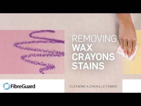 Removing wax crayon stains from a chenille fabric