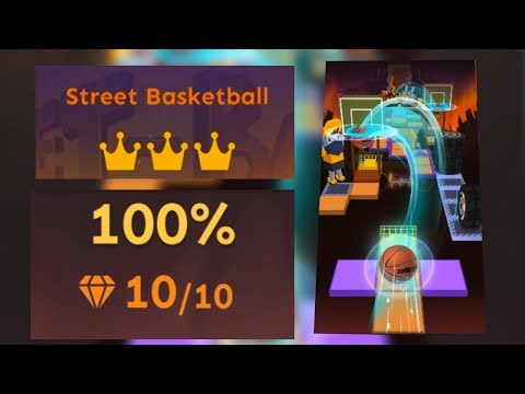 Rolling Sky Level 21 Street Basketball 100% Clear - All Gems & Crowns | SHAvibe