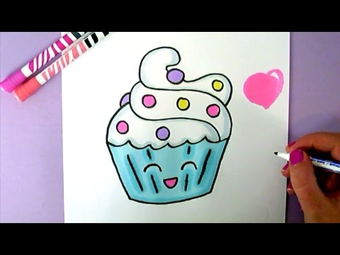 CUTE FOOD DRAWING : HOW TO DRAW A SUPER CUTE AND EASY CUPCAKE STEP BY STEP