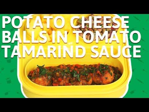 Potato Cheese Balls - Cheese Balls in Tamarind Sauce Recipe - Quick & Easy Snack Recipe For Kids