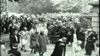 French female Nazi collaborators with shaved heads marched on the streets in subu...HD Stock Footage