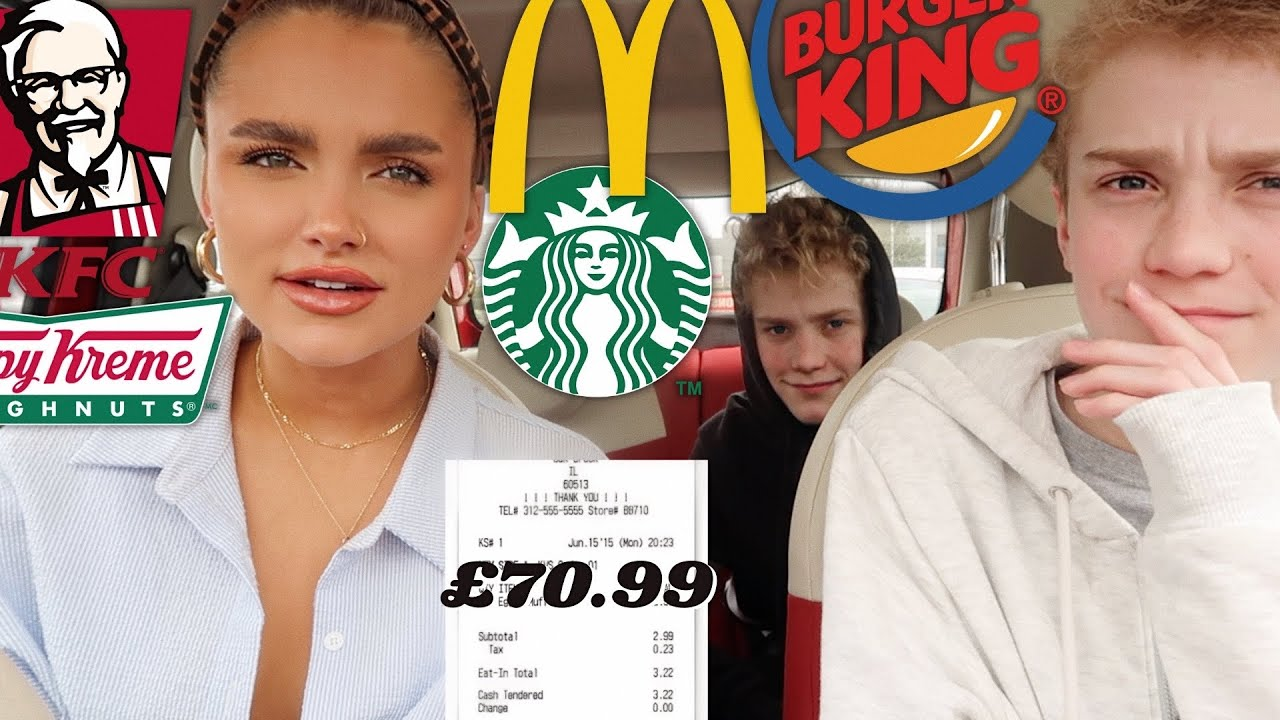 LETTING THE PERSON IN FRONT DECIDE WHAT WE EAT FOR 24 HOURS!! *you won't believe what we got*