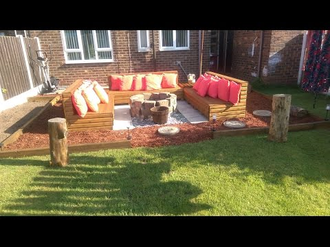DIY Pallets..Our Garden ProJect  Firepit 2016 Benches.